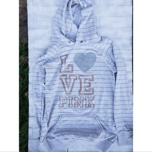Pink Victoria Secret White Striped Hoodie